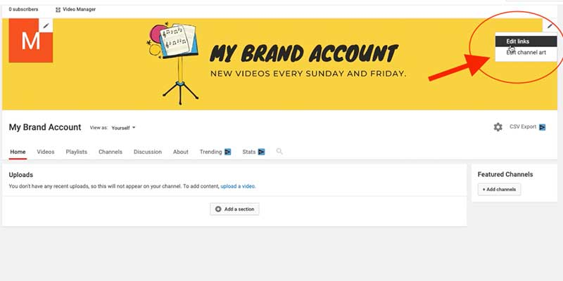 Add Custom Links To Youtube Channel Art