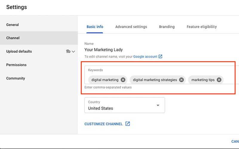 Add YouTube Channel Keywords
